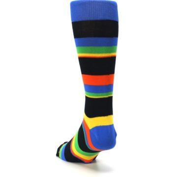 Image of Black Yellow Green Stripe Men's Dress Socks (side-2-back-16)