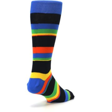 Image of Black Yellow Green Stripe Men's Dress Socks (side-1-back-21)