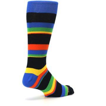 Image of Black Yellow Green Stripe Men's Dress Socks (side-1-back-22)