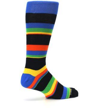 Image of Black Yellow Green Stripe Men's Dress Socks (side-1-23)