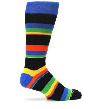 Image of Black Yellow Green Stripe Men's Dress Socks (side-1-24)