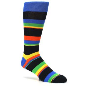 Image of Black Yellow Green Stripe Men's Dress Socks (side-1-26)
