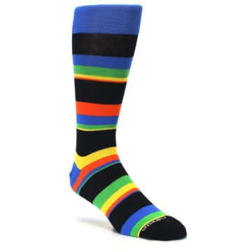 Image of Black Yellow Green Stripe Men's Dress Socks (side-1-27)