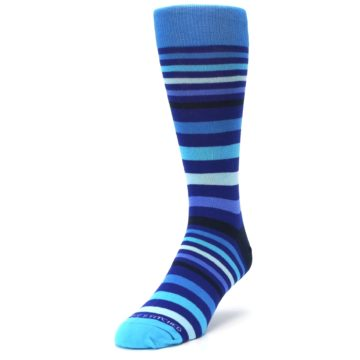 Image of Blues Stripe Men's Dress Socks (side-2-front-07)