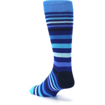 Image of Blues Stripe Men's Dress Socks (side-2-back-15)