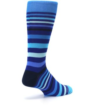 Image of Blues Stripe Men's Dress Socks (side-1-back-22)