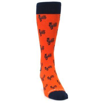 Image of Orange Navy Rooster Men's Dress Socks (side-1-front-03)