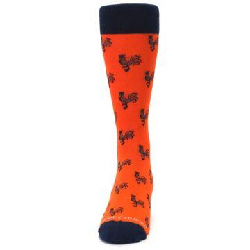 Image of Orange Navy Rooster Men's Dress Socks (front-05)