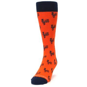 Image of Orange Navy Rooster Men's Dress Socks (side-2-front-06)