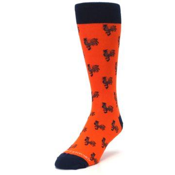 Image of Orange Navy Rooster Men's Dress Socks (side-2-front-07)