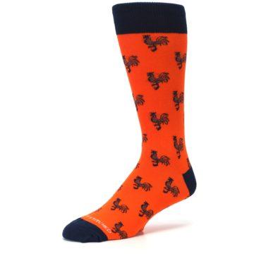 Image of Orange Navy Rooster Men's Dress Socks (side-2-09)