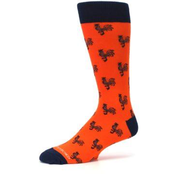 Image of Orange Navy Rooster Men's Dress Socks (side-2-10)