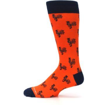 Image of Orange Navy Rooster Men's Dress Socks (side-2-12)