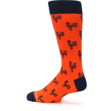 Image of Orange Navy Rooster Men's Dress Socks (side-2-13)