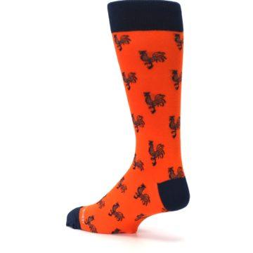 Image of Orange Navy Rooster Men's Dress Socks (side-2-back-14)