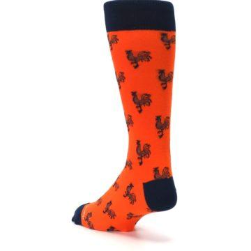 Image of Orange Navy Rooster Men's Dress Socks (side-2-back-15)