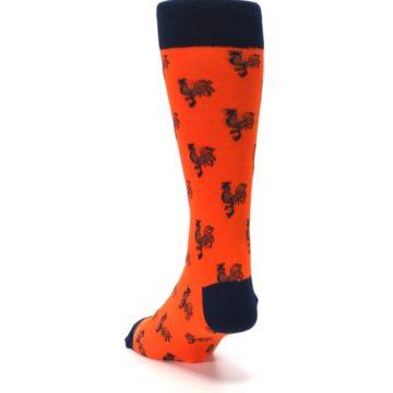 Image of Orange Navy Rooster Men's Dress Socks (side-2-back-16)