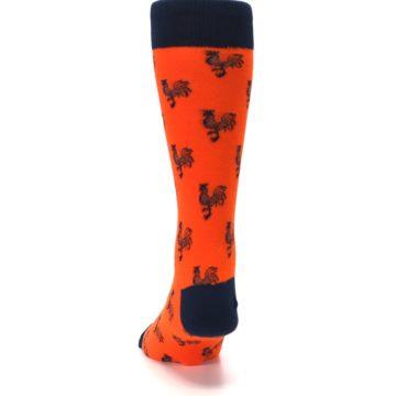 Image of Orange Navy Rooster Men's Dress Socks (back-17)