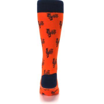 Image of Orange Navy Rooster Men's Dress Socks (back-18)