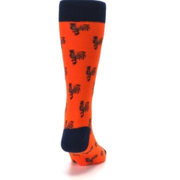 Image of Orange Navy Rooster Men's Dress Socks (back-19)