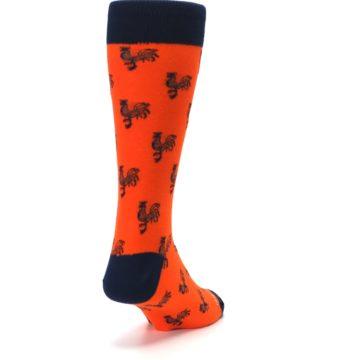 Image of Orange Navy Rooster Men's Dress Socks (side-1-back-20)