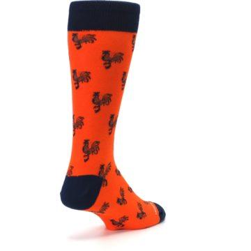 Image of Orange Navy Rooster Men's Dress Socks (side-1-back-21)