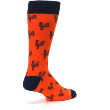 Image of Orange Navy Rooster Men's Dress Socks (side-1-back-22)