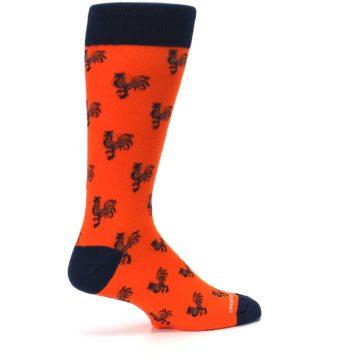 Image of Orange Navy Rooster Men's Dress Socks (side-1-23)