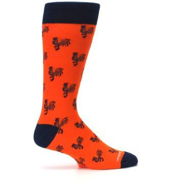 Image of Orange Navy Rooster Men's Dress Socks (side-1-24)