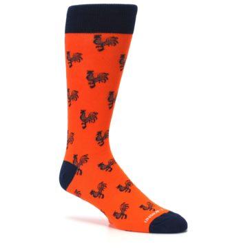 Image of Orange Navy Rooster Men's Dress Socks (side-1-26)