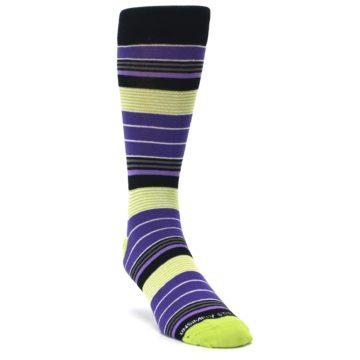 Image of Purple Lime Green Stripe Men's Dress Socks (side-1-front-02)