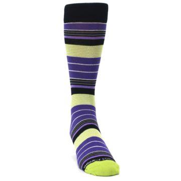 Image of Purple Lime Green Stripe Men's Dress Socks (side-1-front-03)