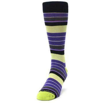 Image of Purple Lime Green Stripe Men's Dress Socks (side-2-front-06)