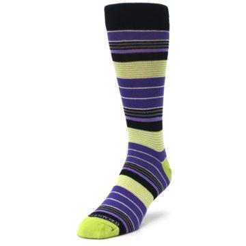 Image of Purple Lime Green Stripe Men's Dress Socks (side-2-front-07)