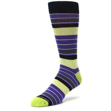 Image of Purple Lime Green Stripe Men's Dress Socks (side-2-front-08)