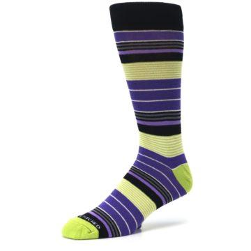 Image of Purple Lime Green Stripe Men's Dress Socks (side-2-09)