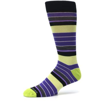 Image of Purple Lime Green Stripe Men's Dress Socks (side-2-10)
