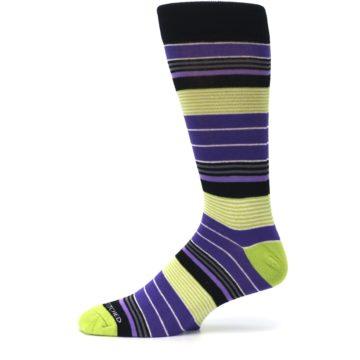 Image of Purple Lime Green Stripe Men's Dress Socks (side-2-11)