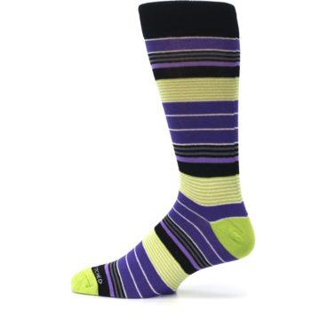 Image of Purple Lime Green Stripe Men's Dress Socks (side-2-12)