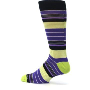 Image of Purple Lime Green Stripe Men's Dress Socks (side-2-13)
