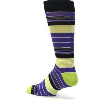 Image of Purple Lime Green Stripe Men's Dress Socks (side-2-back-14)