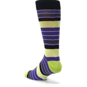 Image of Purple Lime Green Stripe Men's Dress Socks (side-2-back-15)