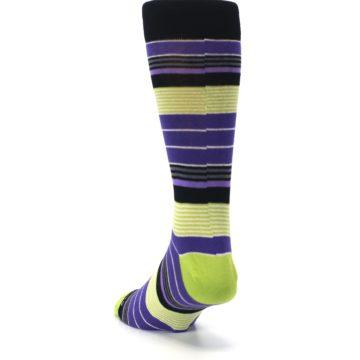 Image of Purple Lime Green Stripe Men's Dress Socks (side-2-back-16)