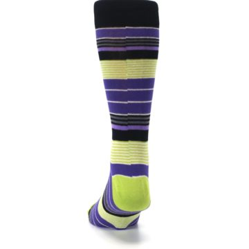 Image of Purple Lime Green Stripe Men's Dress Socks (back-17)