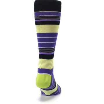 Image of Purple Lime Green Stripe Men's Dress Socks (back-19)