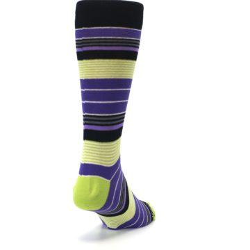 Image of Purple Lime Green Stripe Men's Dress Socks (side-1-back-20)