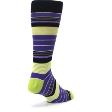 Image of Purple Lime Green Stripe Men's Dress Socks (side-1-back-21)