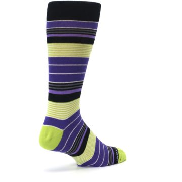 Image of Purple Lime Green Stripe Men's Dress Socks (side-1-back-22)