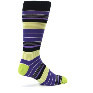 Image of Purple Lime Green Stripe Men's Dress Socks (side-1-23)