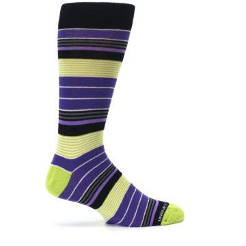 Image of Purple Lime Green Stripe Men's Dress Socks (side-1-24)
